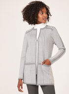 Houndstooth Print Knit Cardigan, Grey, hi-res
