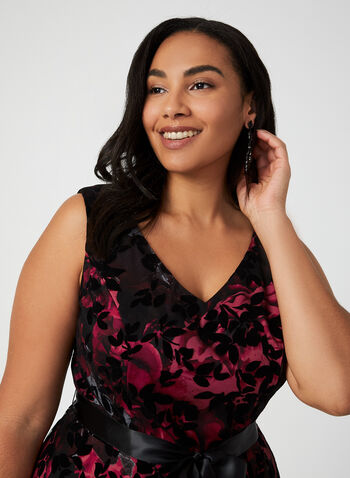 Floral Print Mesh Dress, Black,  cocktail dress, flare dress, fit dress, dress, evening dress, belt, floral print dress, floral, flower, printed dress, fall 2019, winter 2019