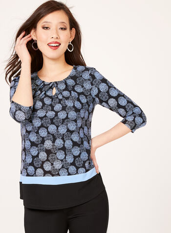 Graphic Dot Print Top, Blue, hi-res