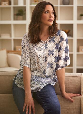 T-shirt à motifs et effet dévoré , Bleu,  printemps été 2021, t-shirt, imprimé, poncho, encolure en V, courtepointe, patchwork,