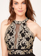 Glitter Lace Gown, Black, hi-res