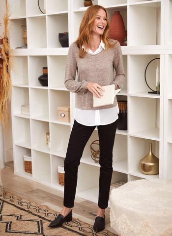Embellished Sleeve Fooler Sweater, Brown,  fall winter 2021, fooler, sweater, top, shirt, layered, scoop neck, shirt collar, long sleeve, balloon sleeve, embellished, pearl, shirt hem