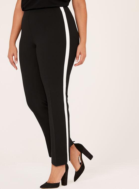 Pantalon pull-on à bande contrastante, Noir, hi-res