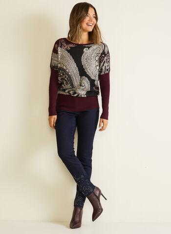 Pull manches dolman à motif cachemire, Violet,  automne hiver 2020, pull, chandail, tricot, motif, cachemire, manches longues, manches dolman