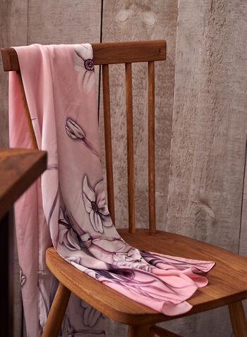 Foulard léger à motif floral, Rose,  foulard, léger, motif floral, imprimé, oblongue, printemps été 2021