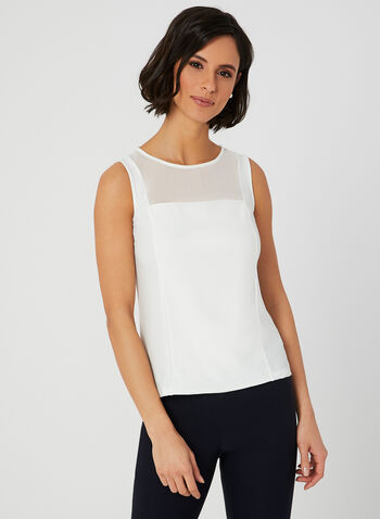 Chiffon Detail Jersey Top, Off White, hi-res