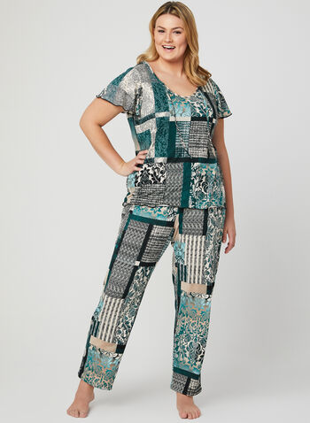 Mixed Print 2-Piece Pyjama Set, Green, hi-res