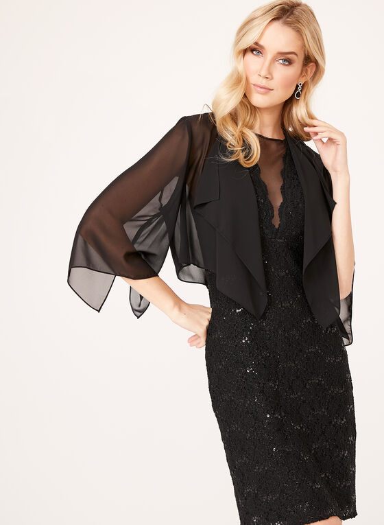 Alex Evenings - Draped Chiffon Bolero, Black, hi-res