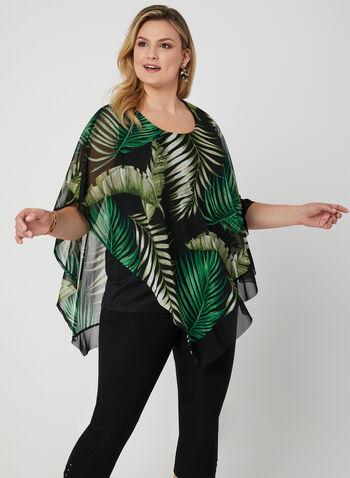 Blouse poncho à motif tropical, Vert, hi-res,  blouse, poncho, mousseline, feuilles, printemps 2019