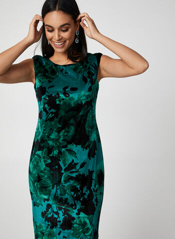 Floral Print Velour Dress, Green,