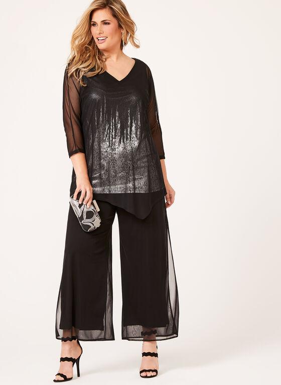 Metallic Print Dolman Sleeve Mesh Top, Black, hi-res