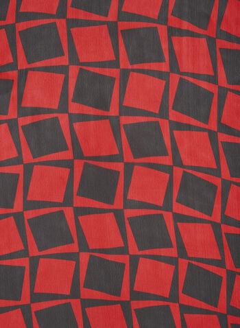 Foulard léger à imprimé géométrique, Rouge,  foulard léger, foulard long, automne hiver 2019, contraste, contrastant