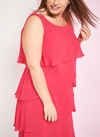 Sleeveless Tiered Chiffon Dress, Red, hi-res