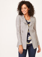 Vex - Draped Faux Leather Jacket, Grey, hi-res