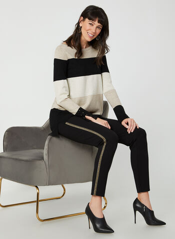 Glitter Stripe Print Sweater, Black,