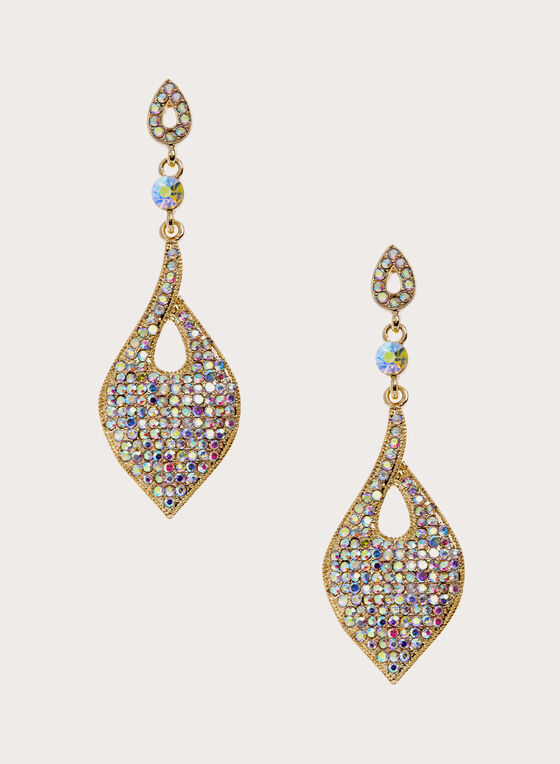 Iridescent Crystal Pavé Drop Earrings, Gold, hi-res