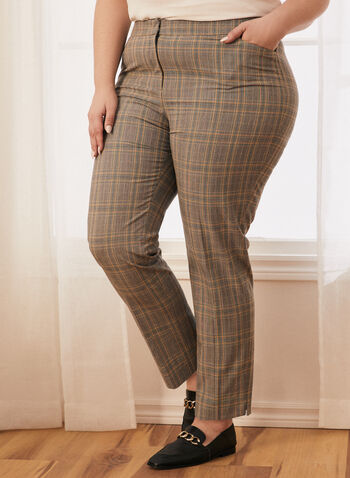 Modern Fit Plaid Print Pants , Black,  spring summer 2020, pants, plaid, modern fit, straight legs, mid waist