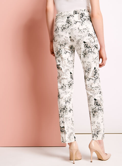Floral Print Straight Leg Ankle Pants, White, hi-res