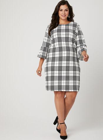 Houndstooth Print Knit Dress, White, hi-res