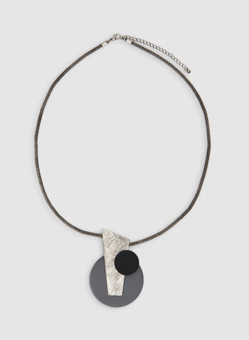 Long Abstract Necklace , Grey,  mesh, chain, necklace, pendant, abstract, geometric, fall 2019, winter 2019