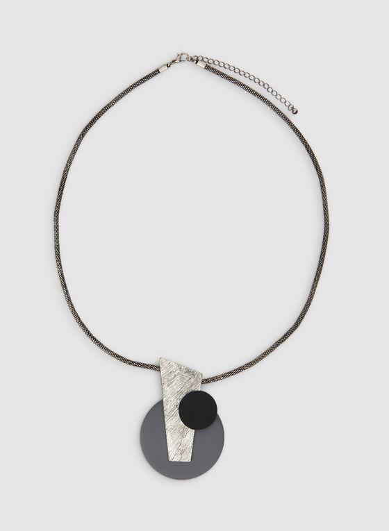 Collier à pendentif géométrique abstrait, Gris, hi-res