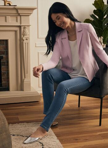 Veste col tailleur à détails zippés, Violet,  printemps été 2021, veste, col tailleur, surpiqûres, point de Rome, zip, détails zippés