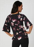 Floral Print Pearl Detail Blouse, Black, hi-res
