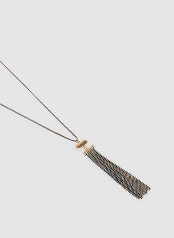 Tassel Pendant Necklace, Grey, hi-res