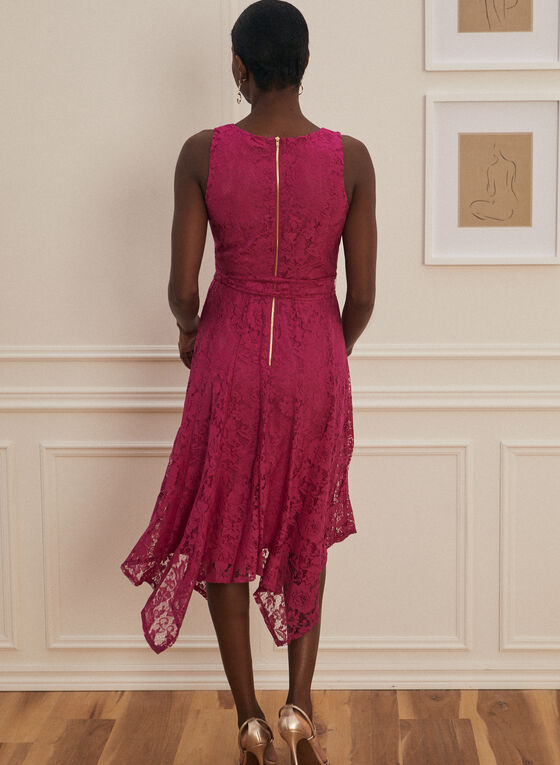 Floral Lace Crossover Dress, Pink