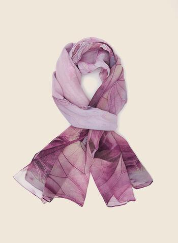 Foulard léger motif fleurs, Violet,  foulard, léger, fleurs, mousseline, automne hiver 2020