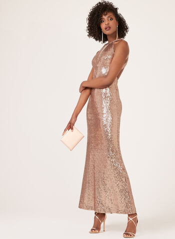 Cleopatra Illusion Neck Sequin Dress, Pink, hi-res