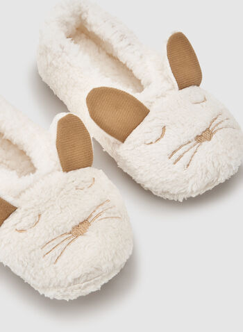Fleece Animal Slippers, White, hi-res
