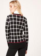 Plaid Print Double Knit Cardigan, Black, hi-res