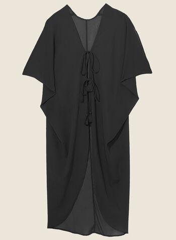 Echo - Cache-maillot en mousseline à pompon, Noir,  cache-maillot, tunique, mousseline,  manches, pompon, printemps été 2020