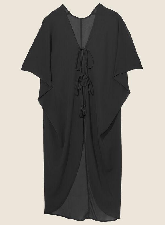 Echo - Cache-maillot en mousseline à pompon, Noir