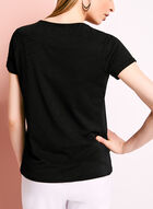 Double Layer V-Neck Knit Top, Black, hi-res