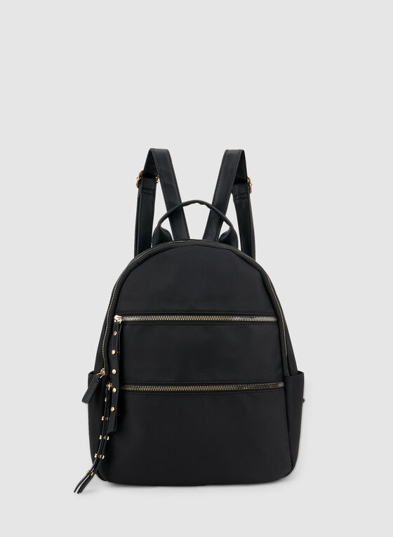 Zipper Trim Backpack, Black