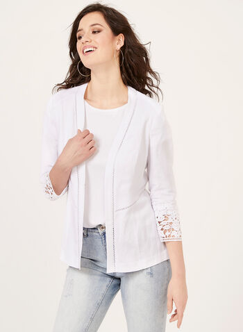 Lace Detail Linen Blazer, White, hi-res