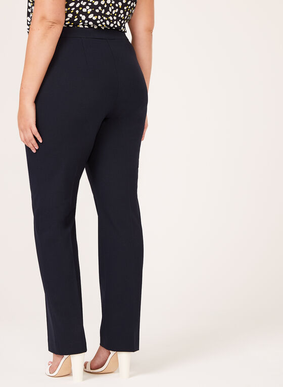 Pantalon coupe signature à jambe droite, Bleu, hi-res
