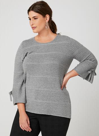 Scoop Neck Ottoman Sweater, Grey, hi-res