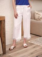 Linen Blend Lace Trim Pants, White
