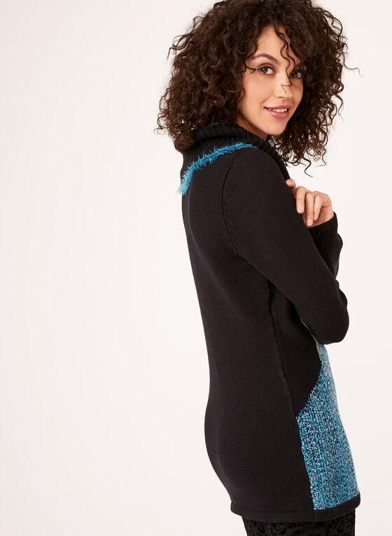 Pull col roulé à plusieurs tricots, Bleu, hi-res