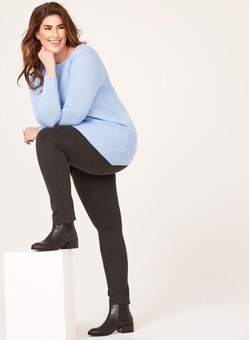 Asymmetric Hem Tunic Sweater, Blue, hi-res
