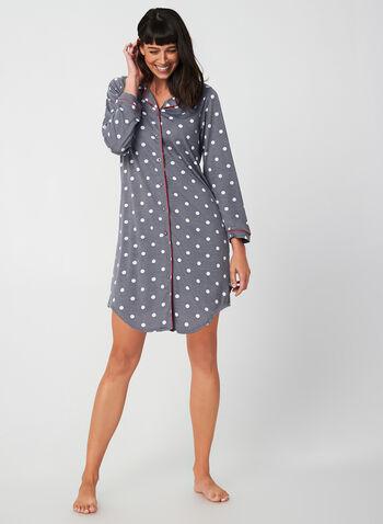 Comfort & Co. - Chemise de nuit à manches longues, Gris,  automne hiver 2019, pyjama, chemise de nuit, pois, motif, manches longues, imprimé