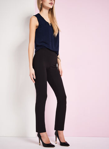 Ponte Pull-On Knit Pants, Black, hi-res