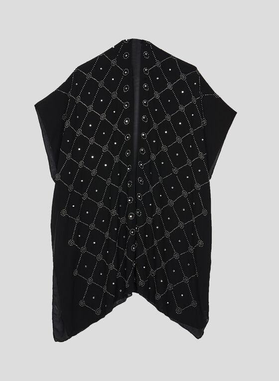 Embellished Open Front Poncho, Black, hi-res