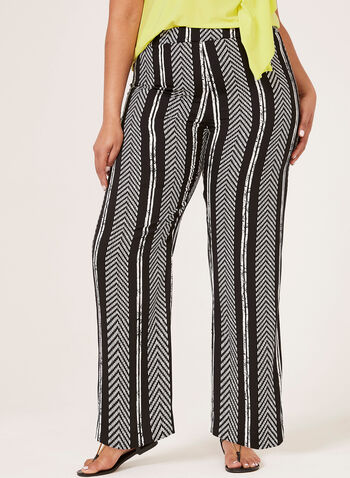 Linea Domani – Aztec Stripe Print Wide Leg Pants, Black, hi-res