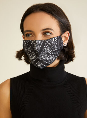 Masque lavable à imprimé bandana, Noir,  automne hiver 2020, masque, lavable, réutilisable, filtre, élastique