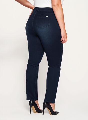 Tummy Control Slim Leg Jeans, Blue, hi-res