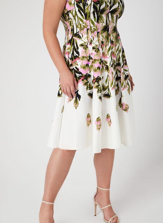 Robe ajustée et évasée fleurie en néoprène, Vert